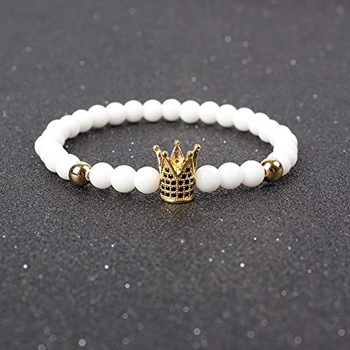 Pulsera Joyas Bracelet Trendy Imperial Crown Charm Bracelets Men Natural Stone Stone Beads For Women Men Jewelry Pulsera Hombres Silver