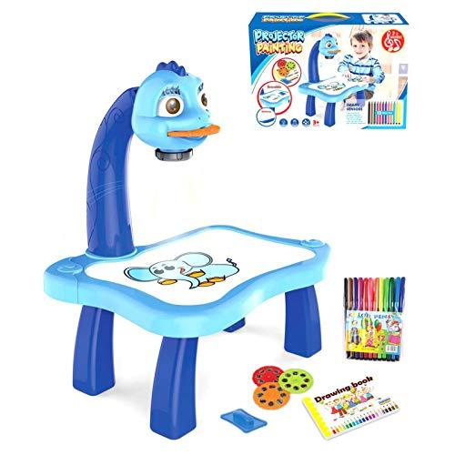 Juego de tablero de dibujo para niños, con proyector de mesa, con 3 discos diferentes, 12 lápices de colores Early Education Toys Craft regalo para niños