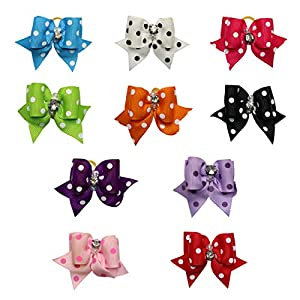 Wontee Pet Hair Ornaments Cute Dog Cat Bows Grooming Hair Rubber Band Rhinestone Pearls Topknot Mix Styles Pet Supplies Hair Accessories
