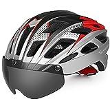 VICTGAOL Casco Bicicleta Helmet Bici Ciclismo para Adulto con Luz Trasera LED Visera Extraíble Hombres Mujeres Adultos de Bicicleta para Montar (Plata)