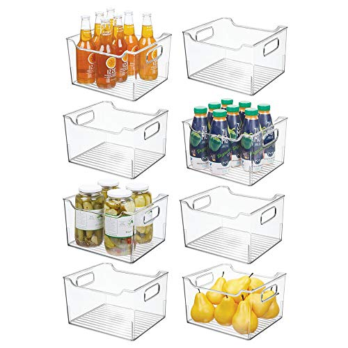mDesign Plastic Kitchen Pantry Cabinet Refrigerator or Freezer Food Storage Bin Box - Deep Container with Handles - Organizer for Fruit Vegetables Yogurt Snacks Pasta 10 Long 8 Pack - Clear