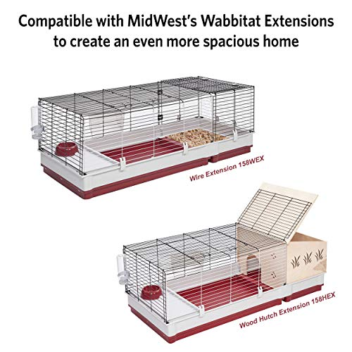 "Midwest Homes for Pets 158 Rabbit Cage Includes Hay Feeder, Water Bottle, Feed Bowl, Elevated Feed Area, 39.5"" x 23.75"" x 19.75"""