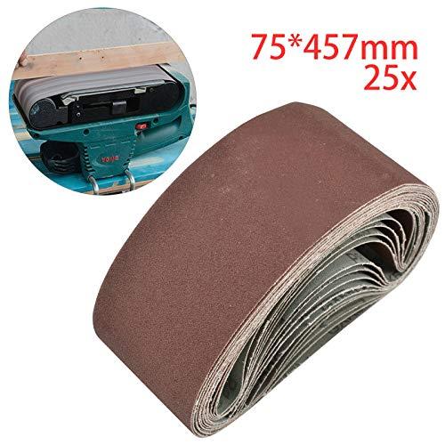 MorNon 25Pcs Cinturón Abrasivo Bandas de Lija Papeles de Lija Banda Abrasiva 75MM x 457MM para Máquina de Cinta Abrasiva 40,60,80,120,180 Cinco Cada Uno