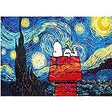YYZCKW - Cuadro para colorear por números, 40 x 50 cm, diseño de Snoopy bajo las estrellas, ideal como regalo