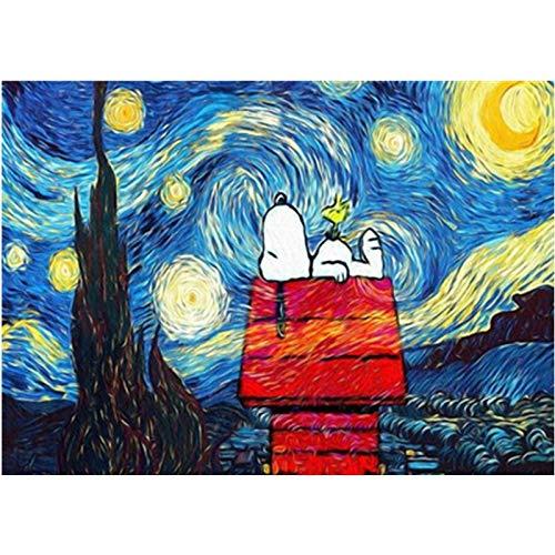 zhxx Malen Nach Zahlen Erwachsene Snoopy Unter Den Sternen Landschaft Hochzeit Ation Art Bild Geschenk LeinwandFür Anfänger Ohne Frame 40X50Cm