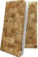 AQUOS R SHV39 ケース 手帳型 木目 木目調 ウッド 木 wood 六角形 ハチの巣 アクオスアール ユニーク おもしろ おもしろケース aquosr 模様 11573-1-10001513-aquosr