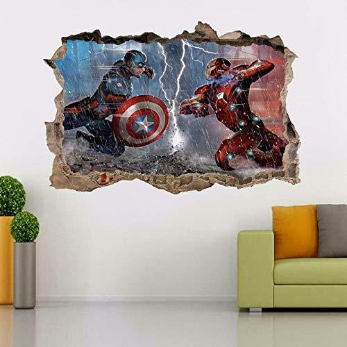Yxsnow 3D Pegatinas de pared Super iron Movie hero man Smashing Extraíble Agujero en la pared Vinilo Decorativo Pegatinas Vista de Efecto Adhesivos De Pared