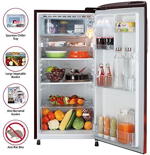 LG 190L 5 Star Smart Inverter Direct-Cool Single Door Refrigerator (GL-B201ASCZ, Scarlet Charm, Fastest Ice Making) 4