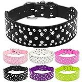 Romote 1Pc rosa Strass Leder Halsbänder für große Hunde Sparkly Kristall Diamanten besetzt Hundehalsbänder für mittlere bis große Hunde