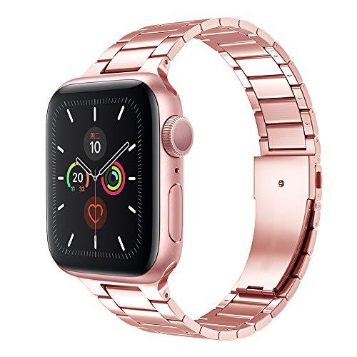 CHENPENG Armband Kompatibel mit Apple Watch 6/5/4/3/2/1, Edelstahl-Uhrenarmbänder Ersatz-Metalluhrenarmbänder, Ersatzarmband,C,44MM