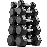 AMGYM Hex 150lbs Dumbbell Set Rubber Encased, Dumbbell Weight Set Sold in A Pair of 5 10 15 20 25...