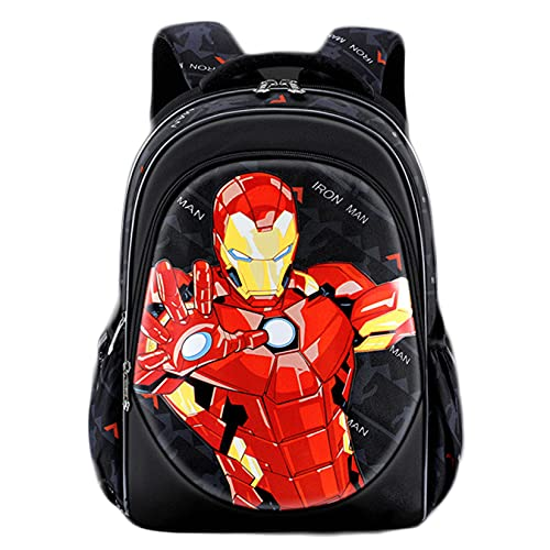 Hflyy Bambini Avengers Bookbags Ragazzi Ragazze Zaini Supereroi Borsa Viaggio Casual All'aperto Kit Pranzo Bambini Picnic Borse Scuola Zaini Impermeabili per Studenti Unisex,Iron Man-32 * 21 * 39cm