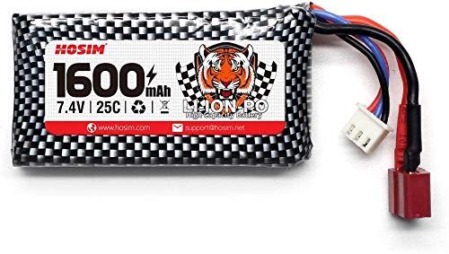 Hosim Batteria Sostitutiva per Auto RC, 1 Confezione Batteria Li-Po da 7,4 V 2000 mAh 9125 Accessori Truggy Trucks con Presa per Camion RC Car Boat