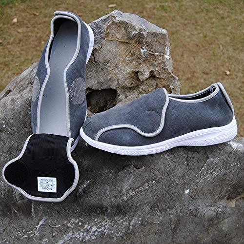 Schoenvoor gezwollen voeten, oedeem, ouderen, mannelijke en vrouwelijke voeten dikke hallux valgus schoenen, middelbare en oudere diabetes schoenen-UK7_Grijze klittenband, diabetische pantoffels met traagschuim voor heren