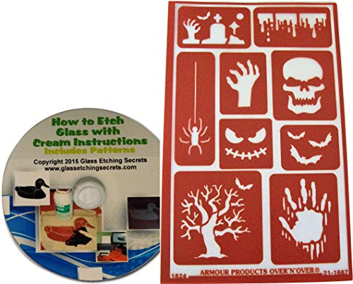 Reusable Creepy Halloween Stencils for Glass Etching or Painting: Skull, Spider, Graveyard, Bats, Zombie Hand, Etc. + How to Etch CD