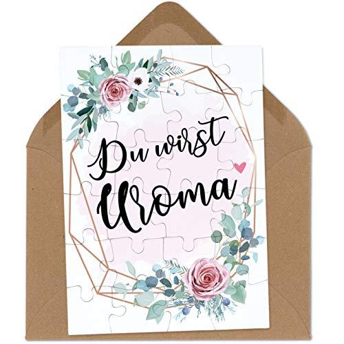 OWLBOOK Du wirst Uroma rosa Blumenkranz Puzzle mit Brief-Umschlag Geschenke Geschenkideen für die Familie zur Geburt & Schwangerschaft verkünden