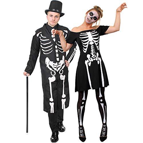 ILOVEFANCYDRESS Knochen Skelett Paare KOSTÜM VERKLEIDUNG Halloween Tag DER Toten=Karneval Fasching=Skater Kleid+Strumpfhose+Frack+Zylinder+TANZSTOCK+SCHMINKE=Kleid/XSmall+Frack/MEDIUM
