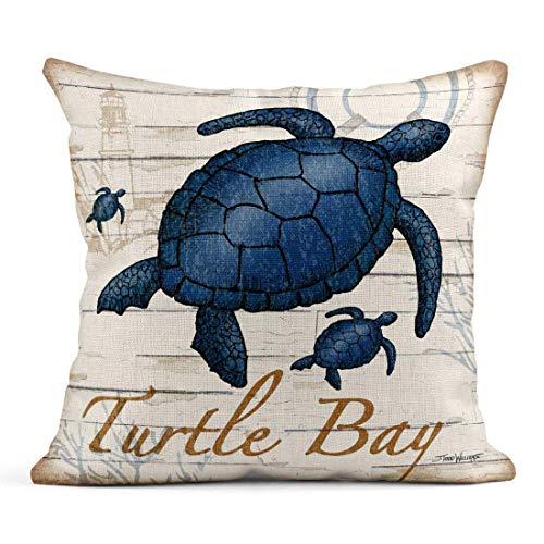 Funda de Cojine Tarolo Lino Throw Pillow Cover Case Aquatic Life Coastal Fundas de almohada decorativas Throw Cojín 45 X 45 CM