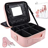OEWOER Travel Makeup Bag 10.2 Inches Makeup Organizer Case Portable Makeup Train Case with Adjustable Dividers and Shoulder Strap PU Leather 3 Layer Makeup Bags with Mirror for Women