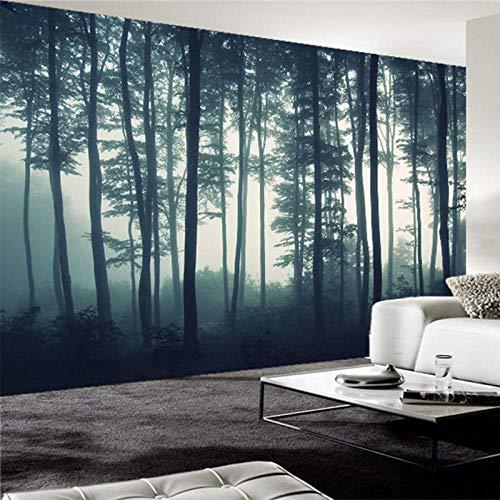 ZJfong fotobehang 3D mist boom wandschilderij woonkamer TV sofa slaapkamer wandschilderij natuur landschap behang 140 x 70 cm.