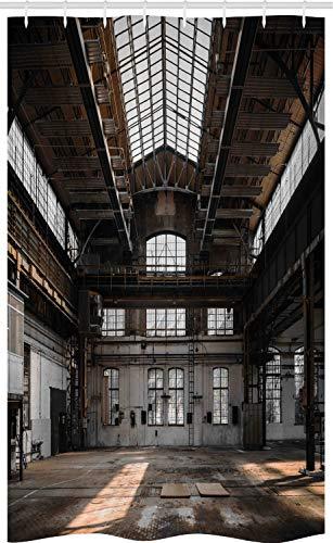 ABAKUHAUS industrieel Douchegordijn, oude Hangar, voor Douchecabine Stoffen Badkamer Decoratie Set met Ophangringen, 120 x 180 cm, Bruin Wit Grijs