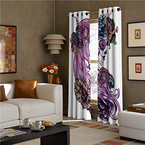 SOSO-LALEO Gothic Decor Shading Insulated Curtain Day of The Dead Illustration with Sugar Skull Girl in Decorative Flower Wreath W72 x L72 Inch