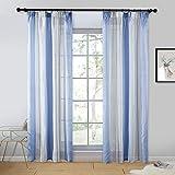 Topfinel Juego de 2 cortinas transparentes de gasa a rayas azules y blancas con...