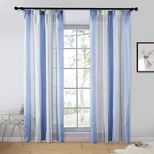 Topfinel 2er Set Transparent Blau-Weiß-Streifen Voile Gardinen mit Kräuselband Dekoration Vorhänge für Kinderzimmer,140x235cm