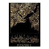 artboxONE Ravensburger-Puzzle XL (1000 Teile) Städte Istanbul in Gold - Puzzle türkei Karte stadtplan