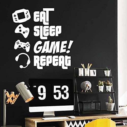 EAT Sleep Game Repeat Gamers Wall Art Vinyl Decal Video Gamers Cool Wall Decor Decoration Vinyl product image