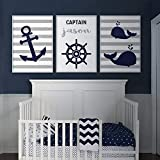 Anchor Whale Wall Art Nautical Nursery Decor Canvas Art Prints Navy Blue Gray Boy Name Personalized Children Baby Room Poster 40x60cmx3 No Frame