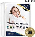 Protège Oreillers Imperméables 60x60 - Set de 2 - Molleton 100% Coton Bi-ome, Sous Taie Oreiller - Fermeture Zip - Anti-acarien, Antibactérien, Anti-moisissure et Hypoallergénique - Garantie 15 ans