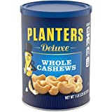PLANTERS Deluxe Whole Cashews, 18.25 oz. Resealable Jar - Wholesome Snack Roasted in Peanut Oil with Sea Salt - Nutrient-Dense Snack & Good Source of Magnesium