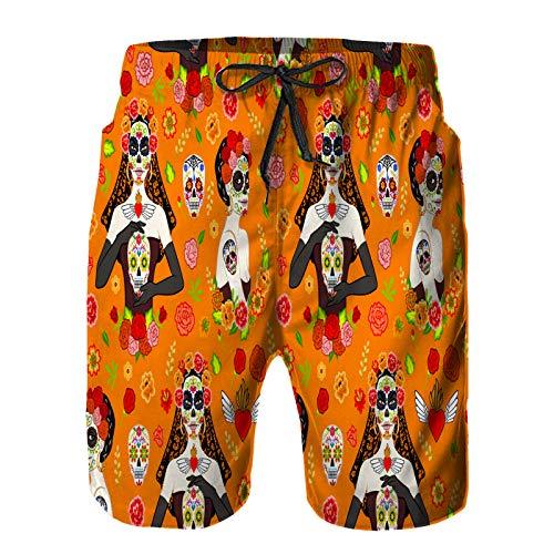 DmiGo Pantalones Cortos De Playa para Hombres,patrón sin Costuras mexicanas Hermosas Mujeres Dia,Pantalones De Chándal De Secado Rápido, Bañador De Verano para Ejercicios Al Aire Libre 4XL
