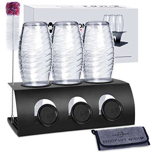 LADYSON Flaschenhalter für SodaStream Crystal - 3er Abtropfhalter ständer,für Soda Stream und Emil Flaschen,aus Edelstahl mit Abtropfwanne und flaschenbürste & Mikrofasertuch,schwarz