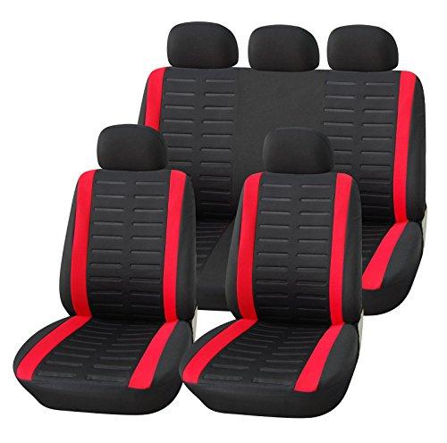 Upgrade4cars Auto-Sitzbezüge Set Universal Auto-Schonbezüge Schwarz Rot mit Teilbarer Rückbank Auto-Zubehör Innenraum