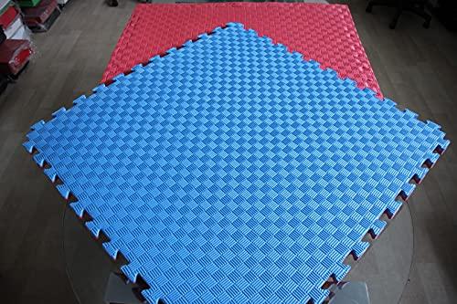 Mugar- Tatami Puzzle 100x100x2,5cms Azul y Rojo Reversible Esterilla Goma Espuma Estructura Pack Ideal Artes Marciales, Judo, Taekwondo, Karate, Yoga, Pilates-Suelo Tatami Japonés (6m2)