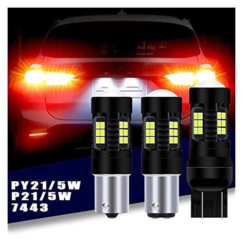 LOVELY Luces de matrícula de Coche P21W LED 1156 BA15S Bulbs Luces de automóvil Señal de Giro Luz de Freno inversa 1157 R5W 3030 21SMD 12V 24V 7443 Lámpara de automóviles Universal