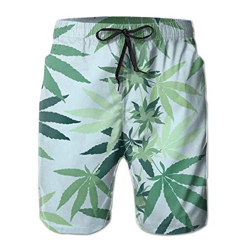 Cannabis Marihuana Hierba Hoja Secado Rápido Hip Hop Hombre Casual Bañador Surf Tabla de Secado Rápido Shorts de Playa con Bolsillos