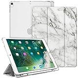 Fintie Funda para iPad Air 10.5' (3.ª Gen) 2019/iPad Pro 10.5' 2017 con Soporte Integrado para Pencil - Trasera Transparente Mate Carcasa Ligera con Auto-Reposo/Activación, Mármol