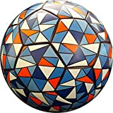 TBC Soccer Ball Size 5 Blue Black Orange for Kids & Adults Leather Thermal Bonded Textured Match Ball