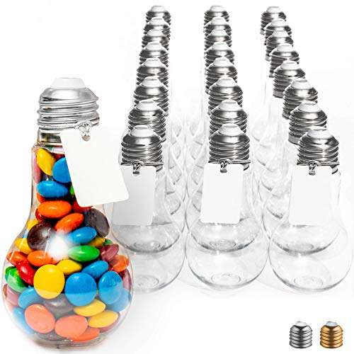 Plastic Light Bulb Jars Silver - 24pc Case - 100ml Clear - with Labels and String - Fillable with Candy, Ideal for Crafts