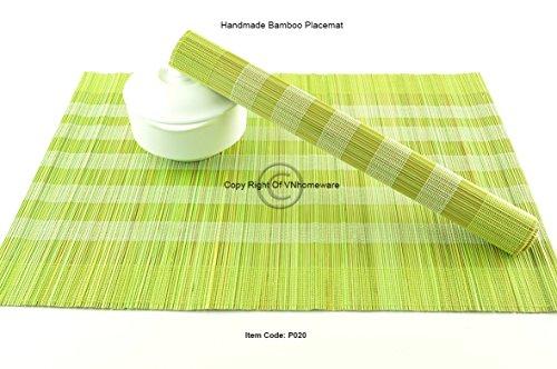 Handgefertigte Bambus-Tischsets, 4 Stück, natürliches Holz, umweltfreundliches Geschirr, Limettengrün-Weiß, P020