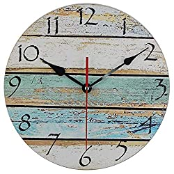 Elikeable Vintage Rustic Beach Wall Clock 12 Round, Silent Kitchen Wall Clocks Battery Operated Non Ticking Quartz - Shabby Beachy Ocean Paint Boards Nautical Decorative Clocks (12 Inch)