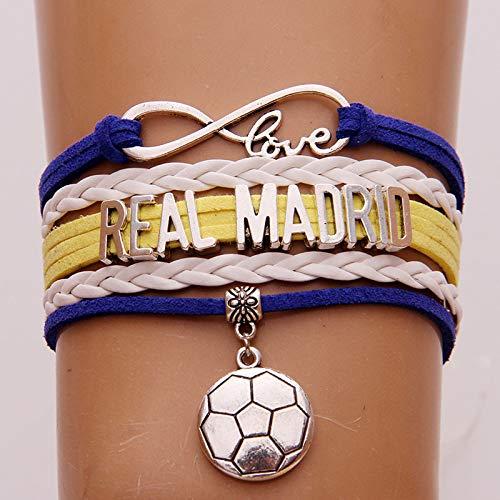 Preisvergleich Produktbild VIOY Braided Armband Spanisch Super Liga Fußball Anhänger Fan Geschenk, Real Madrid