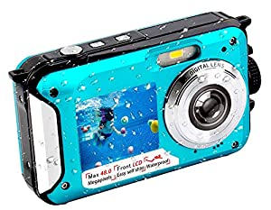 Underwater Camera FHD 2.7K 48 MP Waterproof Digital Camera Selfie Dual Screen Full-Color LCD Displays Waterproof Digital Camera for Snorkeling (806BC) by YISENCE