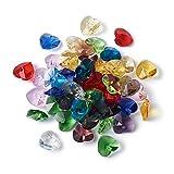 Beadthoven - 50 ciondoli a forma di cuore sfaccettati, 10 x 10 x 5 mm, in vetro colorato, a forma di...