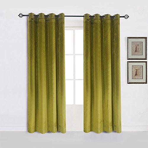 Cherry Home Super Soft Luxury Room Darkening Velvet Moss Green Thermal Blackout Curtain Panel Drapes Grommet Draperies Eyelet 52Wx72L inch Green Yellow,2 Panels