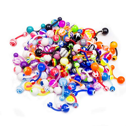 CABBE KALLO 100 pc Acrylic Belly Button Navel Rings 14G for Women Men Piercing Jewelry