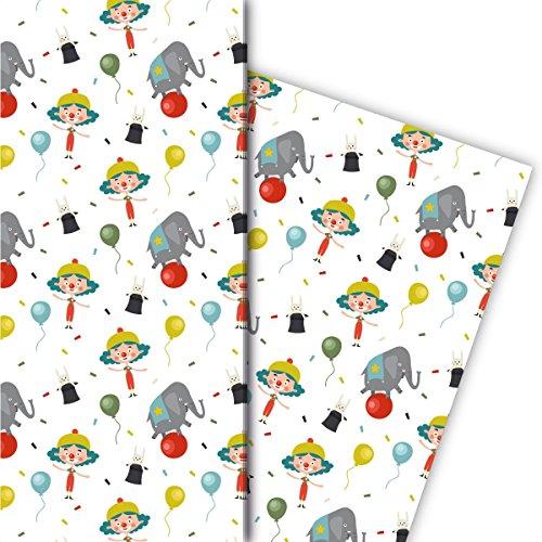 Kartenkaufrausch Kindercircus cadeaupapier set 4 vellen, decoratief papier met clown, ballonnen en olifant voor mooie geschenkverpakking, patroonpapier om te knutselen 32 x 48 cm